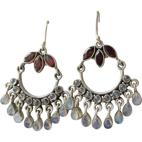 Garnet Moonstone Bali Vintage Sterling Silver Chandelier Garnet Chandelier Earrings