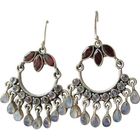 Garnet Moonstone Bali Vintage Sterling Silver Chandelier Sterling Chandelier Earrings