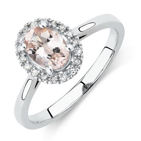 ring with morganite diamonds in 10kt white gold