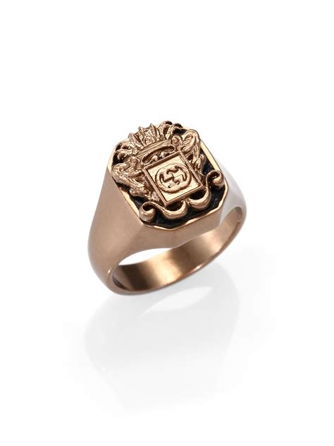 gucci crest ring in gold for lyst