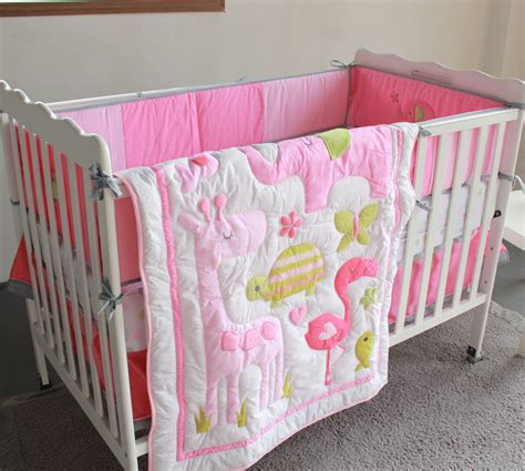 cot bedding sets pink aliexpress buy pink flamingo elephant animals 4pc