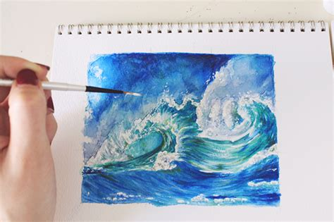 Watercolor Waves Tutorial | how to paint waves a step by step mixed media tutorial