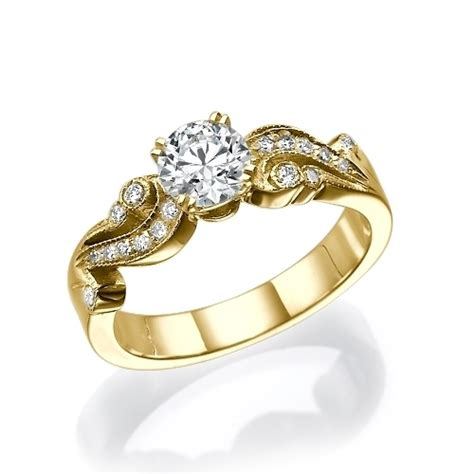 1 ct vintage side engagement ring in 14k yellow gold