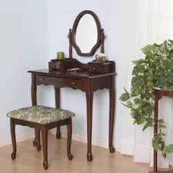 coaster traditional wood makeup vanity table set w mirror
