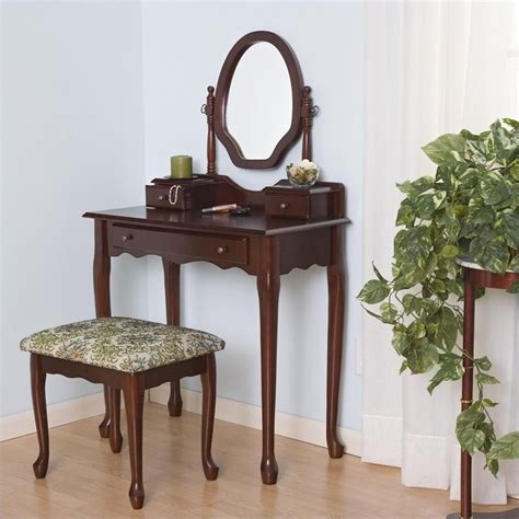 Mirrored Makeup Vanity Table Coaster Traditional Wood Makeup Vanity Table Set W Mirror Bedroom Vanitie Ebay
