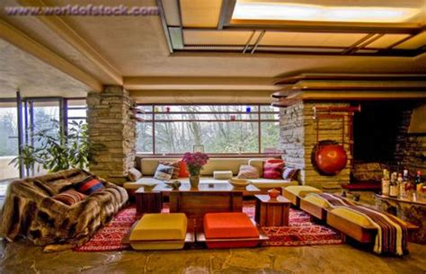 Falling Water Interior stock photography by spencer grant living room interior