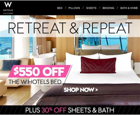 Hotel Mattress Sale by Discounts On W Hotels Merchandise Act Fast No