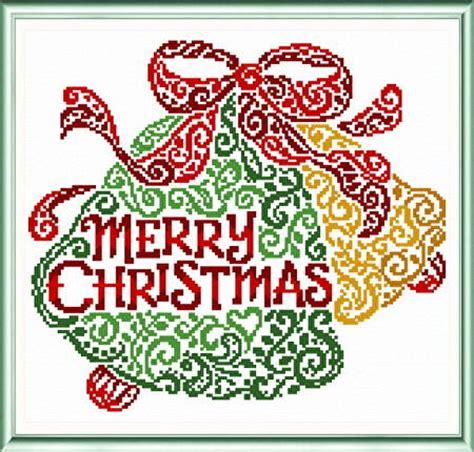 merry christmas bells cross stitch pattern christmas