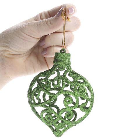bulb ornaments green glittered mesh scroll bulb ornaments
