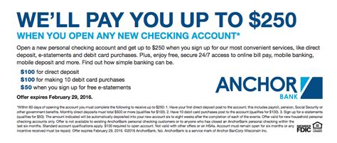 open a new bank account offers anchorbank 250 checking account referral bonus