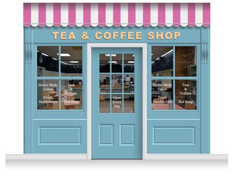 Shop Front Door 3 Drop Leamington Shop Front Tea Coffee Shop Mural 280cm Door Print