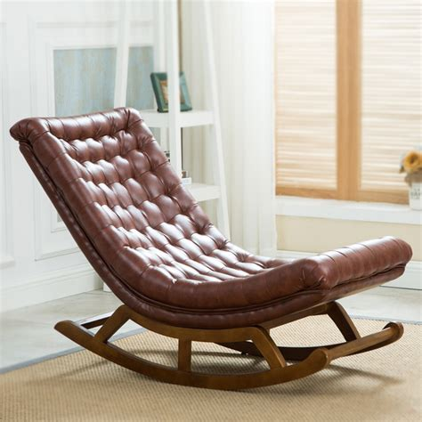 living room rocking chair modern design rocking lounge chair leather and wood for