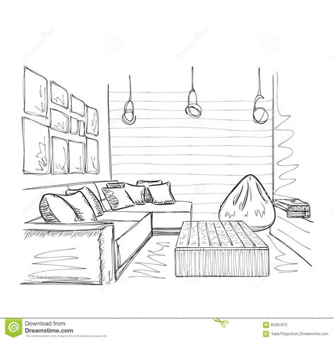 room sketch modern interior room sketch furniture stock