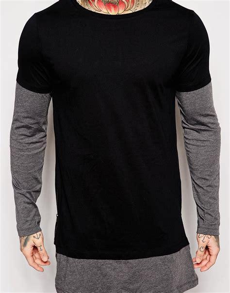 Sleeve Layered Shirt asos longline sleeve t shirt with layer