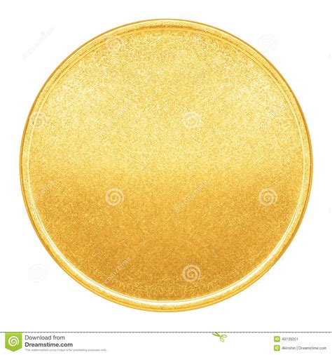 blank template for gold coin or medal stock photo image