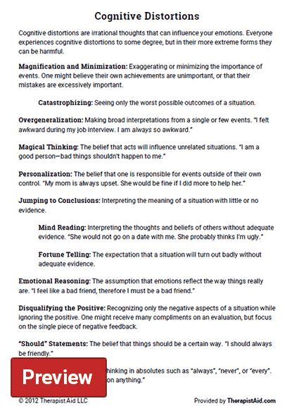 Cognitive Distortions Worksheet Pdf cognitive distortions worksheet therapist aid