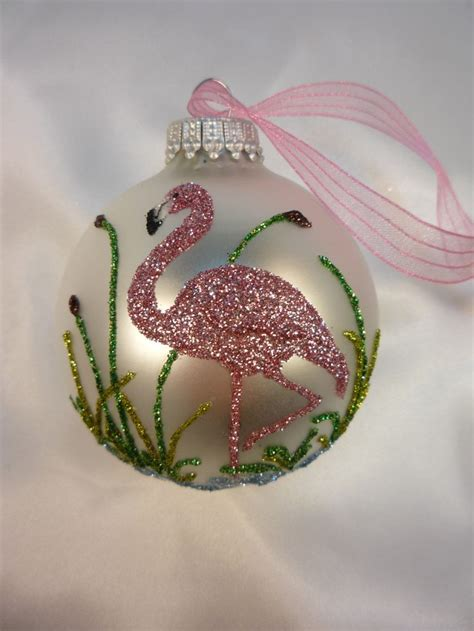 pink flamingo glitter ornament florida christmas