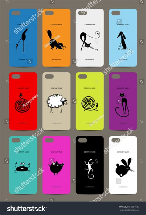 design cover mobile mobile phone cover back 12 funny stock vector 158614637