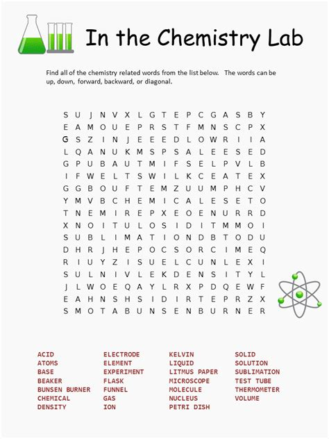 printable word search science chemistry word search