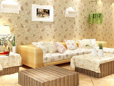 Japanese Style Home Interior Design Floral Wallpaper Living Room Decoration Garden Style