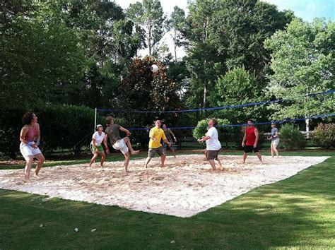 backyard volleyball pit patio pinterest