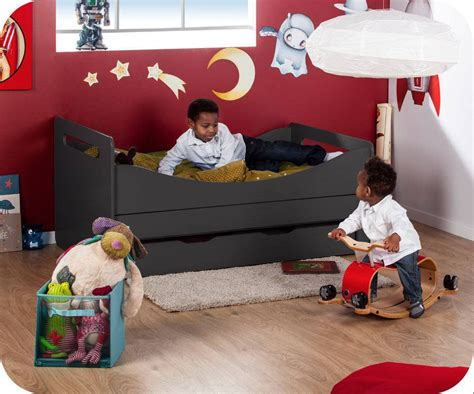 pack lit enfant 233 volutif gris anthracite avec matelas