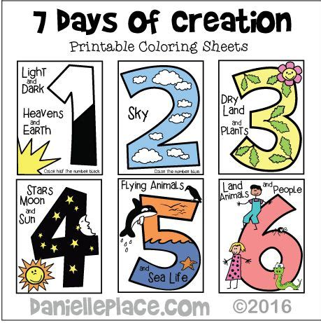 themes in the creation story seven days of creation early childhood coloring sheet for