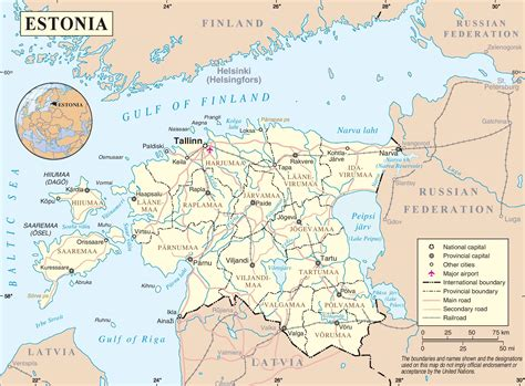 where is estonia on a map estonia road map