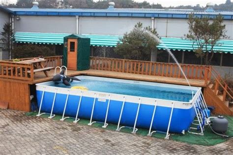 deck ideas  intex  ground pools decking