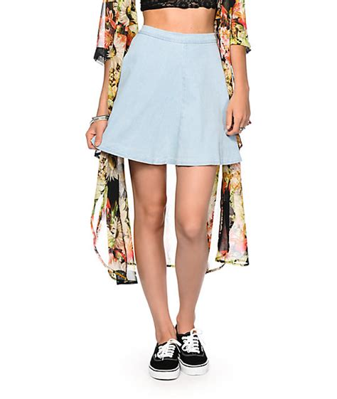 highway light wash denim skater skirt at zumiez pdp