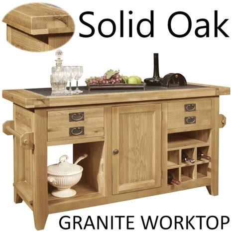 granite top kitchen island lyon solid oak furniture large granite top kitchen island unit ebay