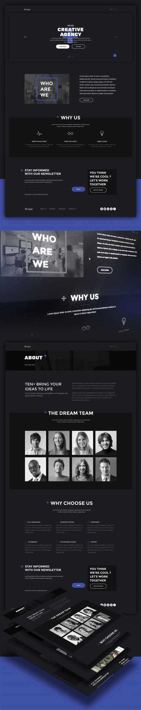 Creative Digital Agencies Website Templates Free Psd Set Download Download Psd Digital Agency Website Templates