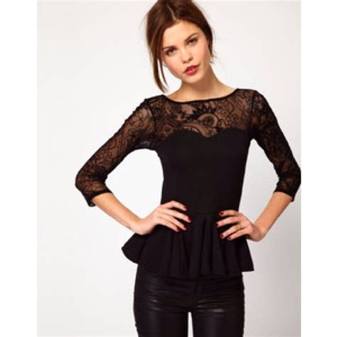 C Top Black asos host pick asos black lace peplum top xs hold from