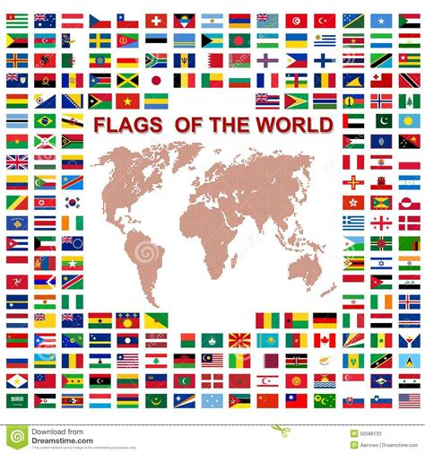 flags of the world vector flags of the world and map on white background stock