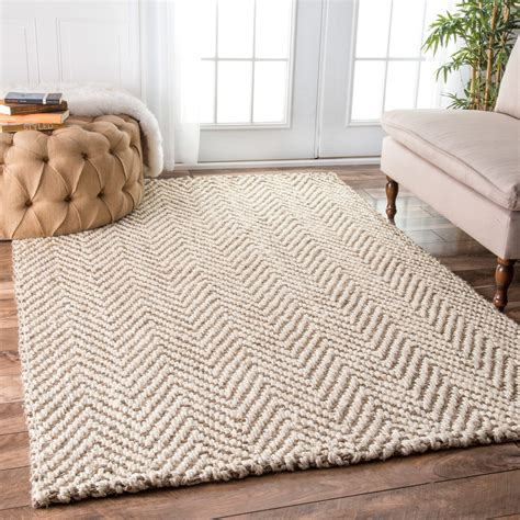 nuloom handmade eco fiber jute chevron ivory rug