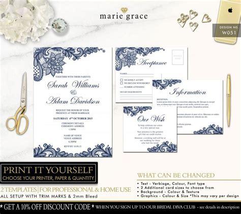 free printable wedding invitations navy wedding invitation navy blue and lace wedding invitation
