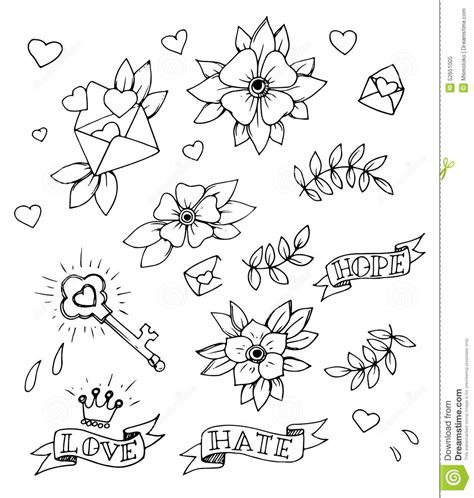 traditional design elements vector set of drawn old school tattoo elements black and white