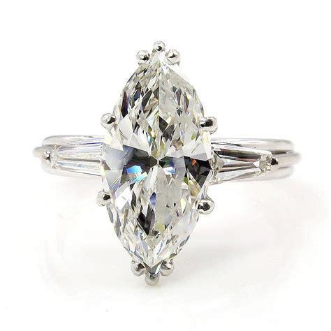 1930..Vintage 3.68ct Classic Marquise Diamond Three Stone