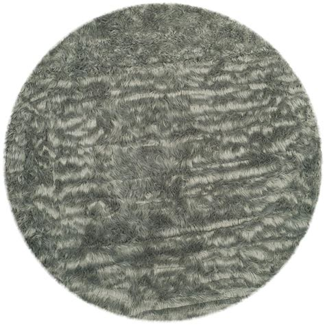Safavieh Faux Sheepskin Rug Safavieh Faux Sheepskin Gray 4 Ft X 4 Ft Area Rug Fss235d 4r The Home Depot