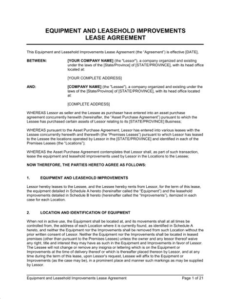 leasehold agreement template equipment and leasehold improvements lease agreement