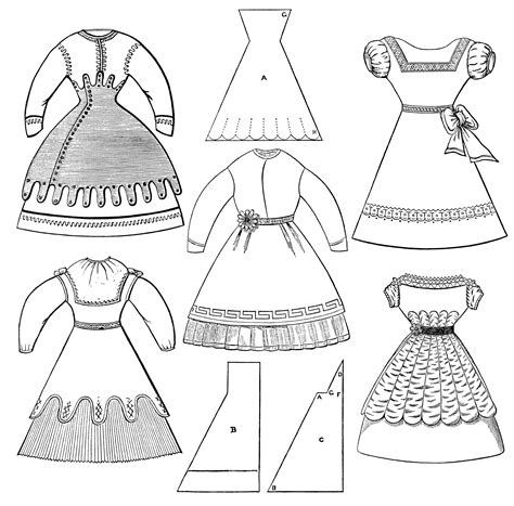 black and white pattern on clothes victorian girls dresses free clip art old design shop