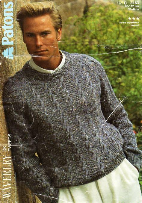 mens knitting pattern hooded jumper mens sweater knitting pattern pdf mens cable sweater crew neck