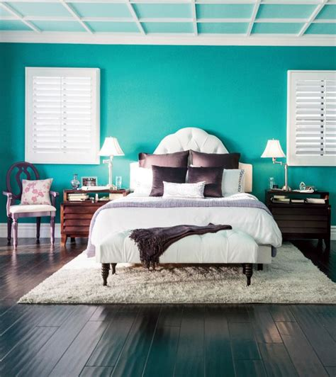 opposites attract pretty purple accents with bold bright teal walls creates a vibrant yet zen