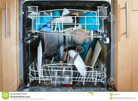 How To Unblock A Dishwasher Inside Of As Dishwasher Containing Dirty Dishes Royalty