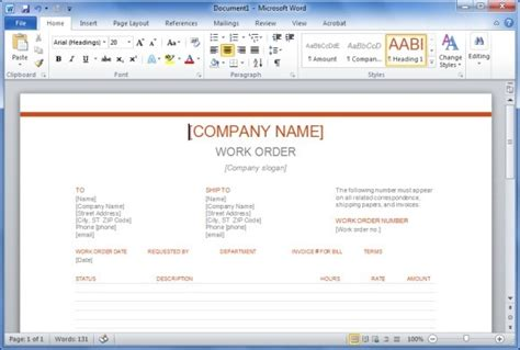 microsoft work order template free work order template for word powerpoint presentation
