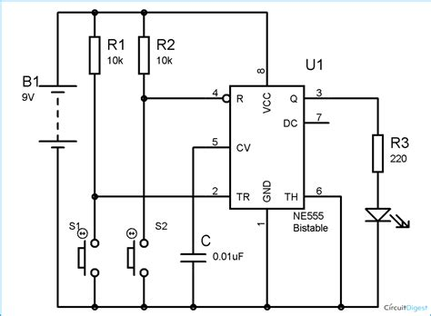 circuit diagram of astable multivibrator 555 timer bistable multivibrator circuit technology