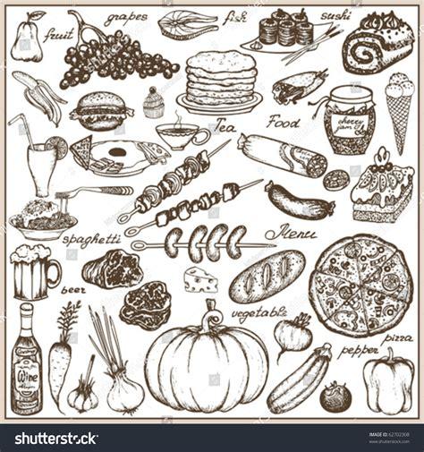 doodle food free set doodle food stock vector 62702308