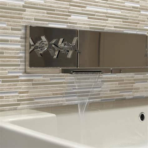kitchen backsplash peel and stick tiles smart tiles capri taupe 9 88 in w x 9 70 in h peel and