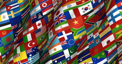flags of the world design globe with the national flags of all countries in the