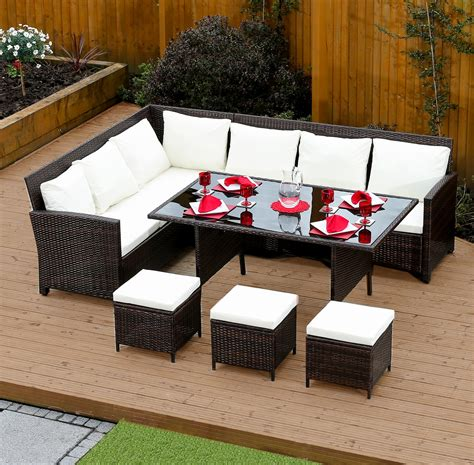 sofa garden brown 9 seat rattan corner dining set from abreo abreo